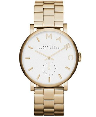Marc by Marc Jacobs Watch, Women's Baker Gold-Tone Stainless Steel Bracelet 37mm MBM3243 - Watches - Jewelry & Watches - Macy's