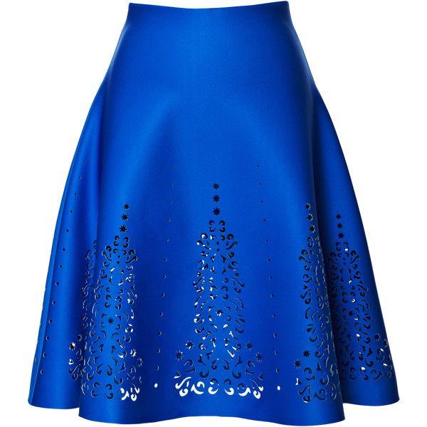 Clover Canyon Laser Skirt ($320) ❤ liked on Polyvore featuring skirts, multi, blue skirt, neoprene skirt, clover canyon, a-line skirt and blue a line skirt