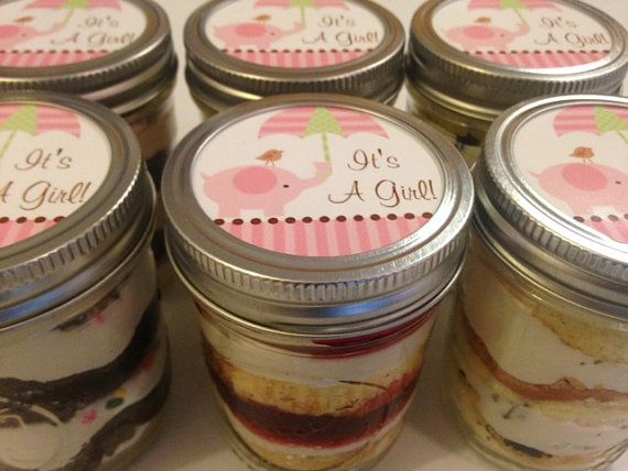 Cupcakes In A Jar Mason Jars Baby Shower Favors Elephant Theme Pink