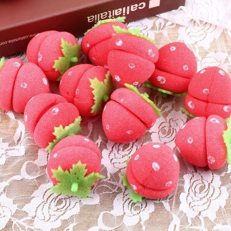 12 pcs Hair Curlers Cute Magic Strawberry Curler Soft Sponge Foam Balls Curling Rollers Hair Care Lovely DIY Hair Tools  Sale