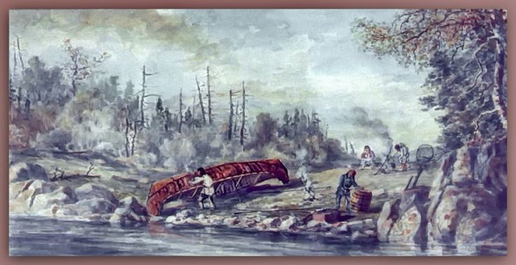 Indian encampent in northern Ontario by artist William Wallace Armstrong ca1860s. Note the largness of the birch bark canoe