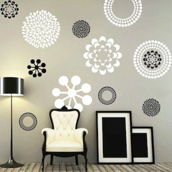 Modern Flower Bedroom Wall Decals Stickers Murals, Removable ...