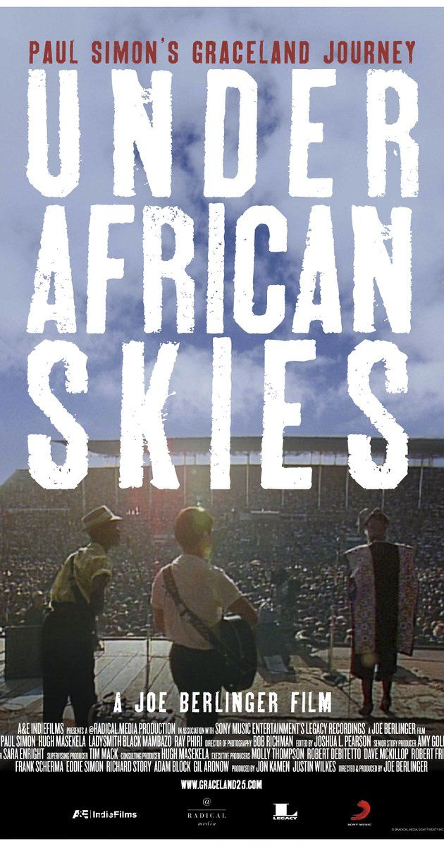 Directed by Joe Berlinger.  With Paul Simon, Maya Angelou, Okeyerama Asante, Harry Belafonte. Paul Simon returns to South Africa to explore the journey of his Graceland album, including the political backlash he received for allegedly breaking the UN cultural boycott of South Africa designed to end the Apartheid regime.