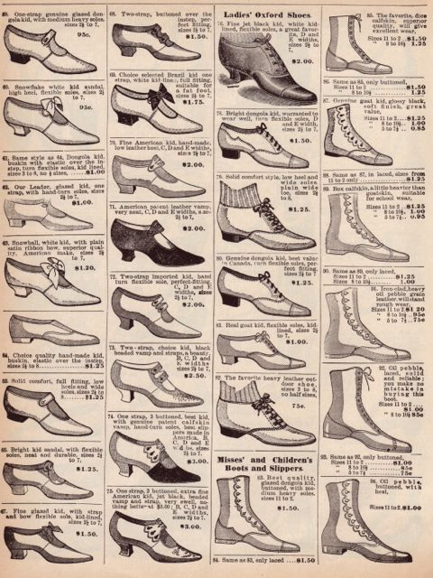 Victorian shoe catalog page