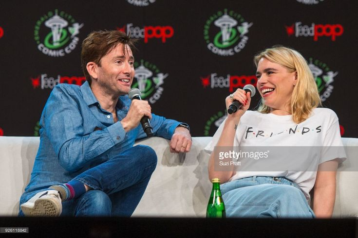Actors David Tennant and Billie Piper of Dr. Who speak at Washington State Convention Center on March 1, 2018 in Seattle, Washington.