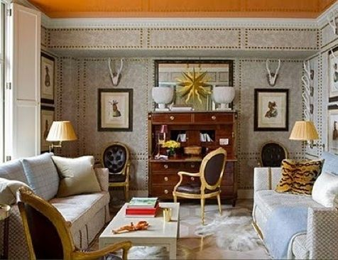 orange ceiling via ecoloradointeriordesigner Proof That Colors Read Lighter on the Ceiling