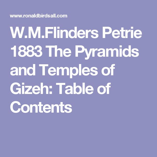 W.M.Flinders  Petrie 1883 The Pyramids and Temples of Gizeh: Table of Contents