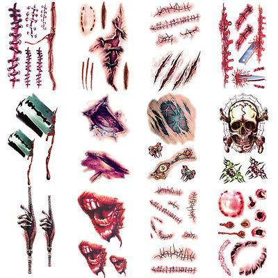 Halloween Kostüm Party Zombie Narbe Wunde Temporäre Tattoos Fake Blood Makeup … – Narbe