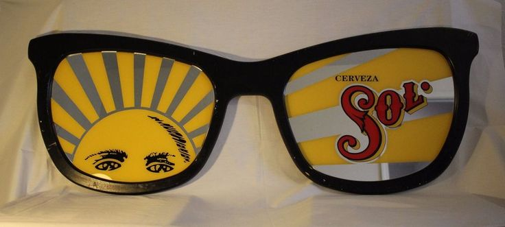 RARE Vintage 60s/70's Cerveza Sol 4' Mirrored Sun Sunglasses Beer Mirror Sign