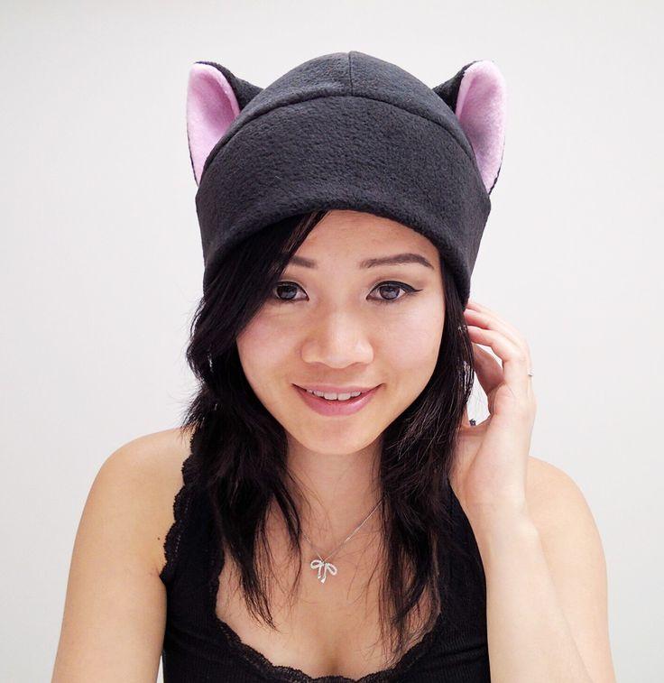 Pink Cat Ears - Black Cat - Cat Ear Hat - Kitty Cat Hat - Black Cat Ears - Cat Costume - Cat Toque Hat - Cat Cosplay - Anime Hat - Manga Hat by QWear01 on Etsy https://www.etsy.com/listing/202397562/pink-cat-ears-black-cat-cat-ear-hat