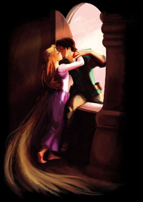 Rapunzel and Flynn, classic through-the-window pose (I missed this in the movie... I loved illustrations like this in the original fairy tale)