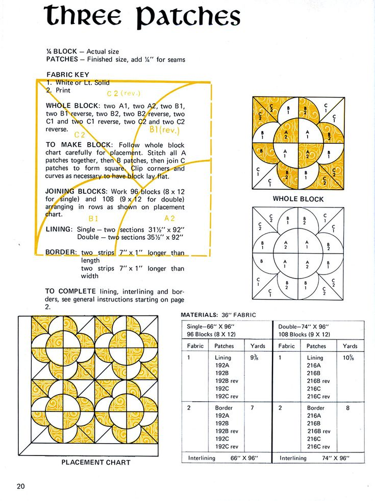 """""""Three Patches"""" Vintage Quilt Pattern Scan"""