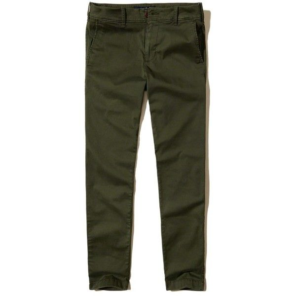 Hollister Advanced Stretch Super Skinny Chino Pants ($22) ❤ liked on Polyvore featuring men's fashion, men's clothing, men's pants, men's casual pants, olive, mens chino pants, mens olive green pants, mens olive pants, mens skinny pants and mens skinny fit dress pants