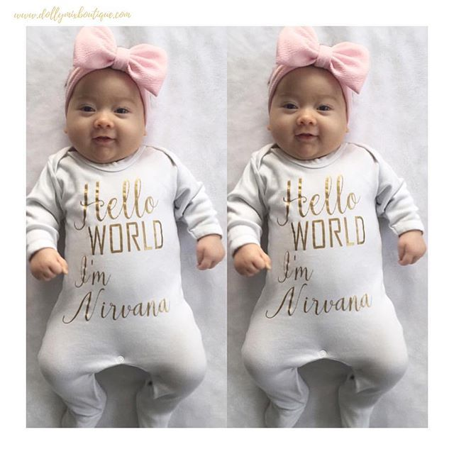 Oh Hi Gorgeous Nirvana 🎀 Wearing our Hello World Babygrow. Available in lots of colour choices >>> www.dollymixboutique.com ✨