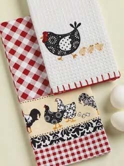 """2 Rooster Hens Cotton Applique Country Kitchen Dish Towels 18""""x28"""" Linens 
