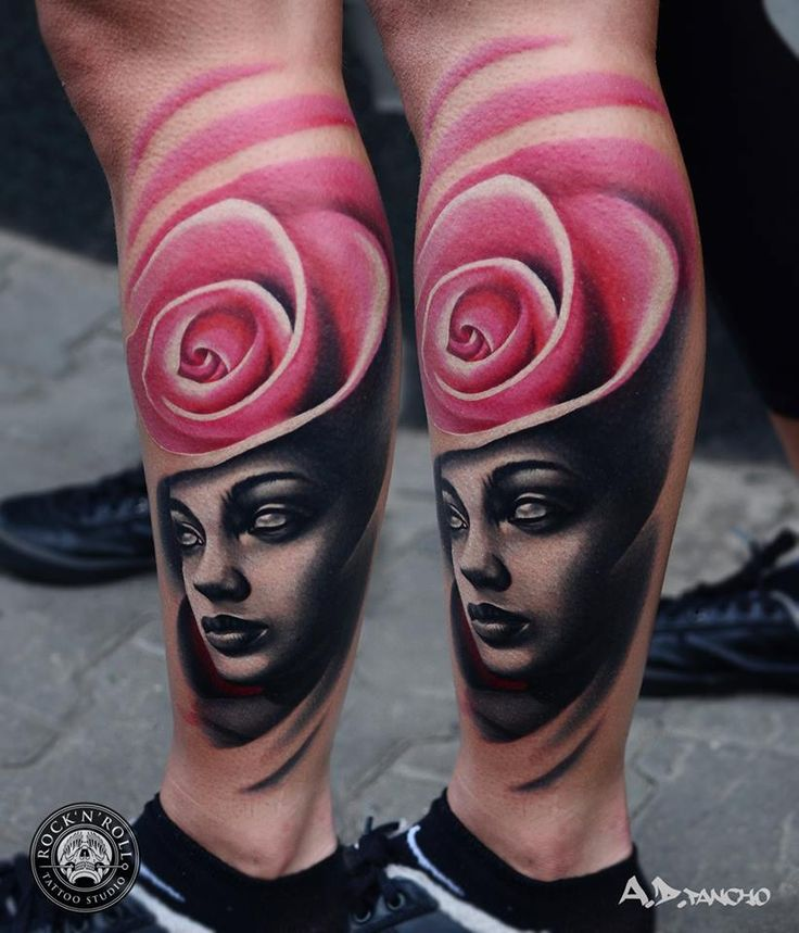 Woman with Rose Hat Tattoo by A.D. Pancho Rock N' Roll Tattoo Katowice Poland