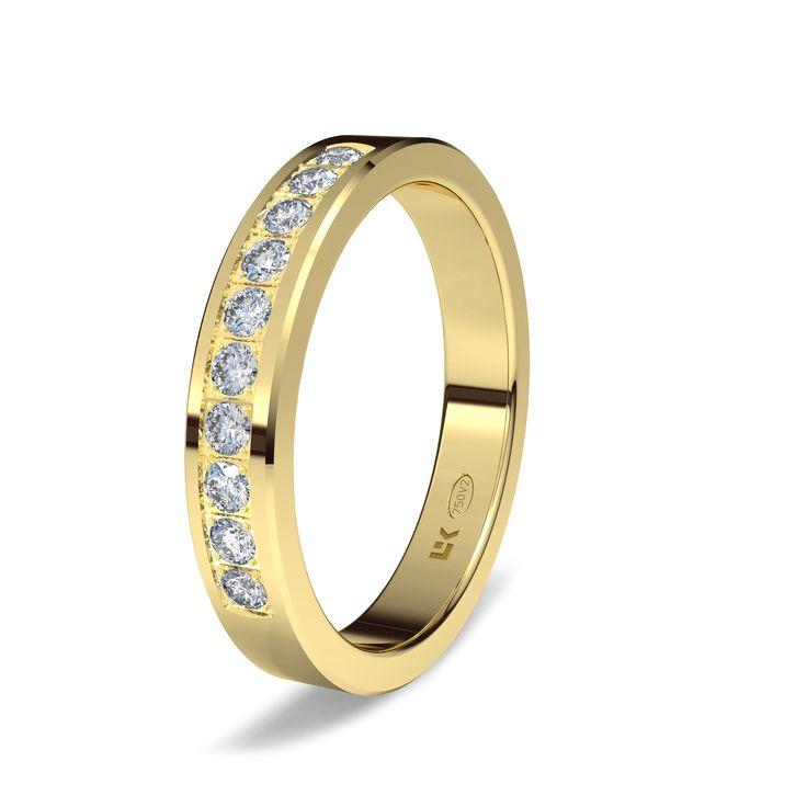Sortija de oro amarillo de 18K modelo Rectangular#bodas #alianzas #anillos #sortijas #diamantes #brillantes #novia | cnavarro.com