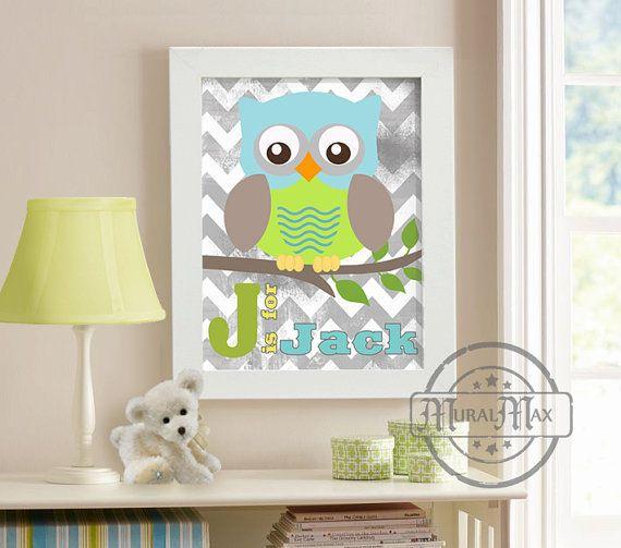Art for Children, Owl Personalized  Print ,Wall Art , Boys Woodland Owl  Nursery Art