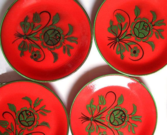 vintage 70s 4 plates zeller keramik anuschka red von EmmasHistory, €26.00