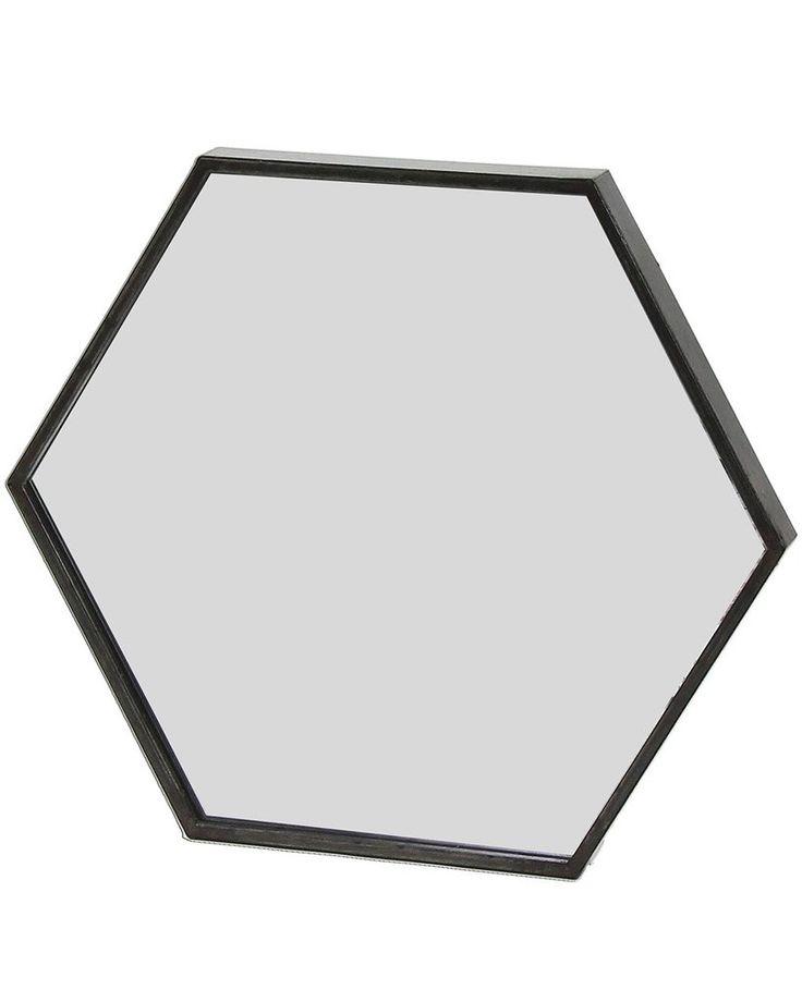 ZEN - BLACK METAL HEXAGON WALL MIRROR W:45CM £75.00