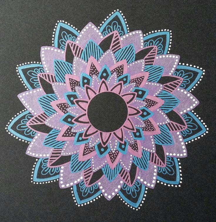 - Blue/Purple/Pink mandala - Drawn freehand - Gellyroll Metallic pens from Sakura