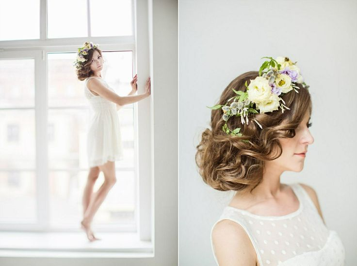 Flower head piece and low bun styled shoot by marzipan-wedding.ru