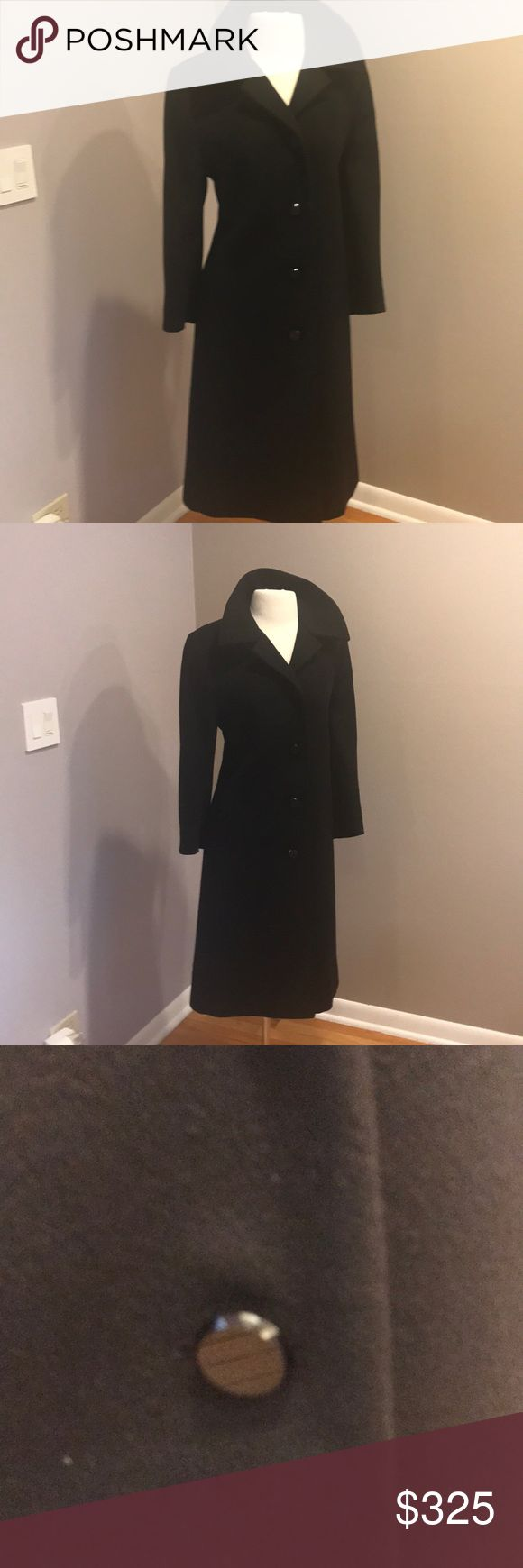 BLACK FRIDAY SALE BLACK💯 cashmere coaT/ FLEURETTE We've already established how absolutely phenomenal this particular line is. Fleurette makes all their coats out of the finest cashmere and lambs wool.Retailing in the 1000's . It's coconut paragraph as well as I would like it too but it hits mid calf with a small slit in the back. This is their timeless cashmere coat not much has changed from year to year. Priced very well ! Please no low ball offers fleurette for neiman marcus Jackets…