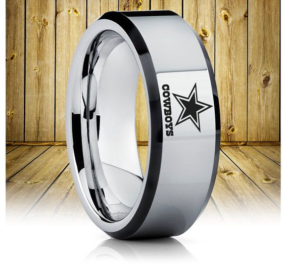 Dallas Cowboys Tungsten Wedding Band,Dallas Cowboys Tungsten Ring,Football Ring,Anniversary Gift,Custom Football Ring,Unique Tungsten