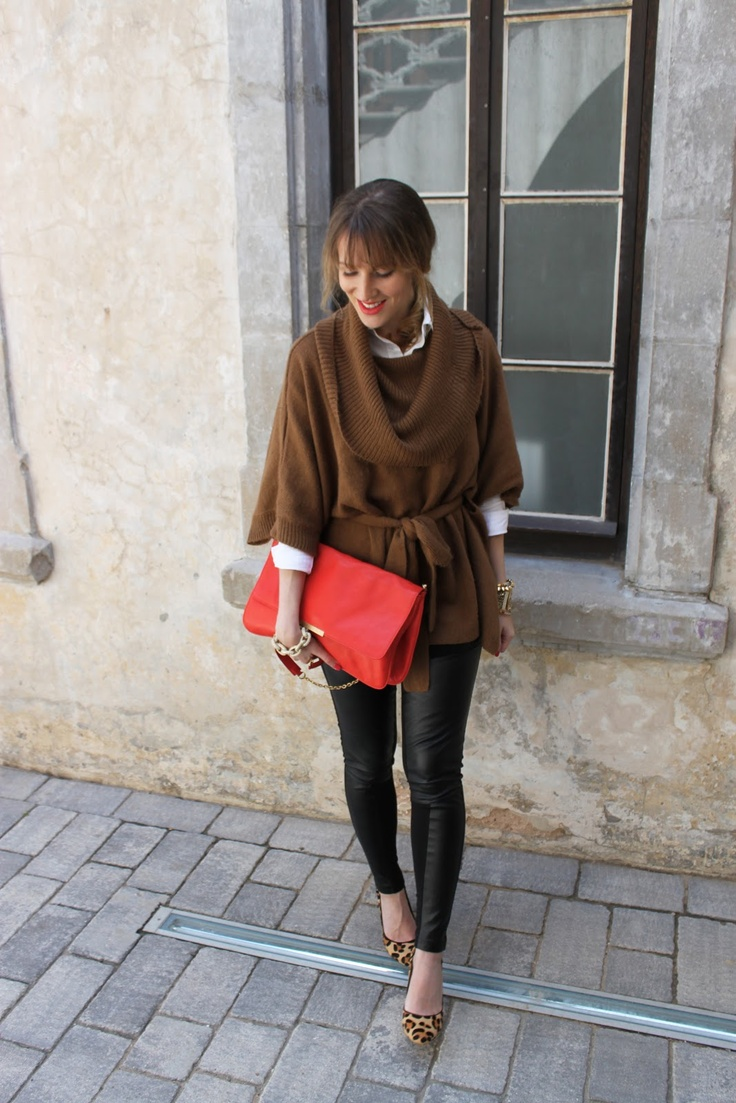 Leopard shoes, Oversized sweater, Leather leggings, Red Clutch Bag