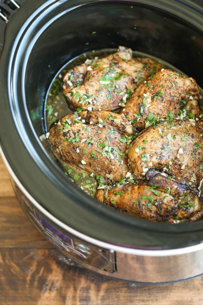 Slow Cooker Balsamic Chicken - Let the crockpot do all of the work in the easiest dish of all time. Simply throw everything in with 5 min prep. That's it!