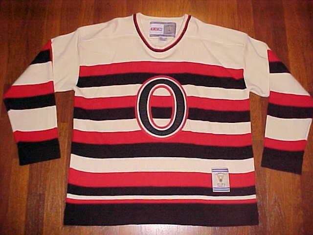 CCM Vinatge Hockey 1917 NHL Ottawa Senators Logo Pullover Striped Sweater XL New