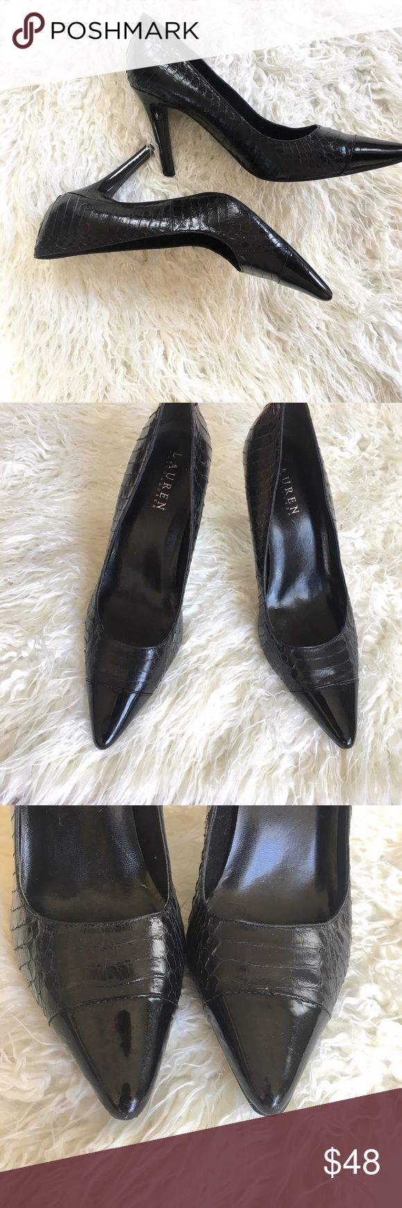 Ralph Lauren snake skin patent leather heels Gorgeous, sexy stilettos with snake skin and a patent leather pointed toe.  Very good condition minus a few minor, almost unnoticeable scuffs on the back of the heel. Add this to a bundle to save 15%. Lauren Ralph Lauren Shoes Heels