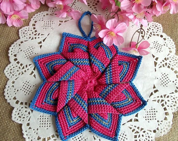 CROCHET PATTERN Pot Holder Christmas Pot Holder Crochet Tea Pot Holder Kitchen Star Crochet Pot Holder pdf pattern Instant Download  Craft: Crochet US 2.5mm Crochet Hook Cotton Yarn 30 yards approx of each color Finished Size: 8 inch (20.5cm) x 8 inch (20.5cm)  Just stunning Star Pot Holder for your kitchen, easy to follow, pattern includes step by step how to make and assamble this star, lots of pictures to make easy the learning process of this beautiful pot holder.  All patterns written…