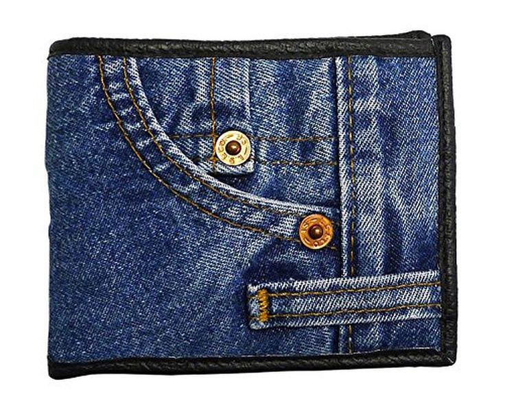 Bijoux De Ja Unisex Blue Denim Bifold Wallet Wristlet Purse