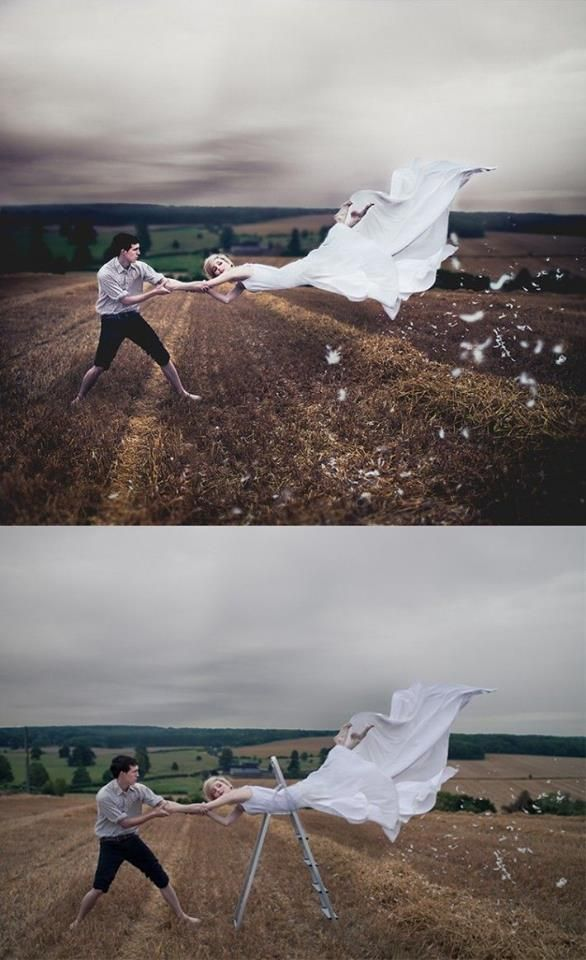 Flying  Using Step ladder in creating photograph
