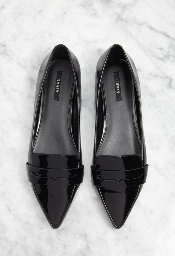$22, Black Leather Loafers: Forever 21 Pointed Faux Leather Loafers. Sold by Forever 21. Click for more info: https://lookastic.com/women/shop_items/306454/redirect