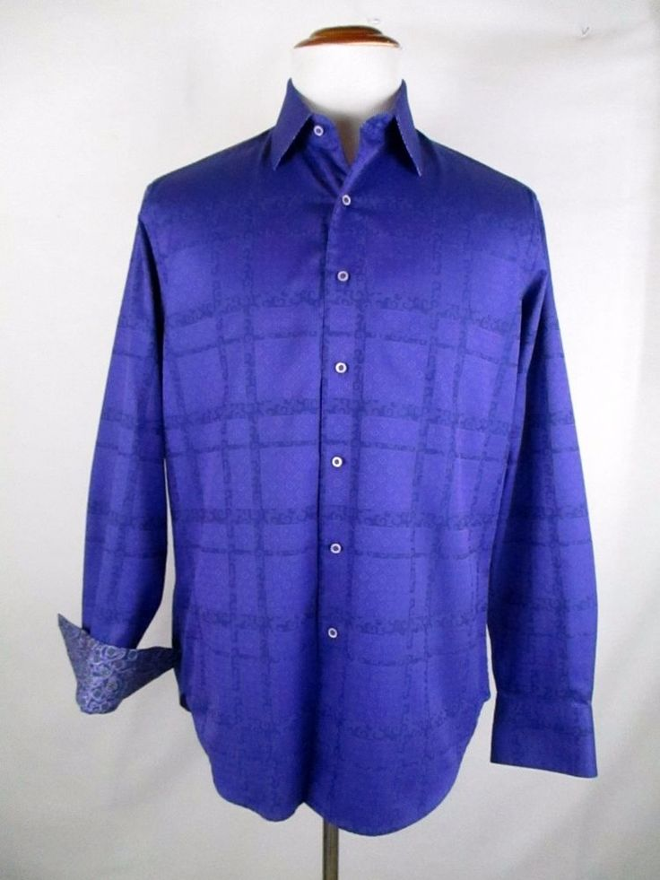 Robert Graham Purple Print Shirt Contrast Flip Cuff Collar M Medium Classic Fit #RobertGraham #ButtonFront
