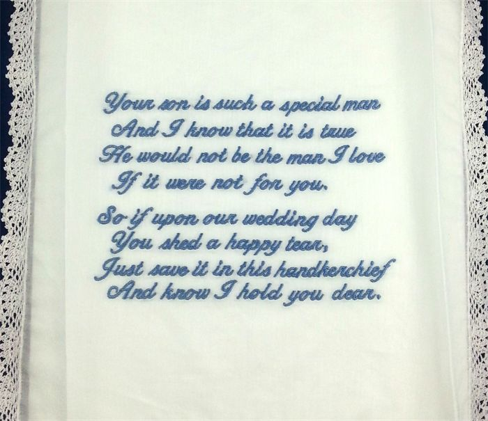 Wedding Handkerchief - Embroidered Hanky from the Bride to the Groom's Mother.