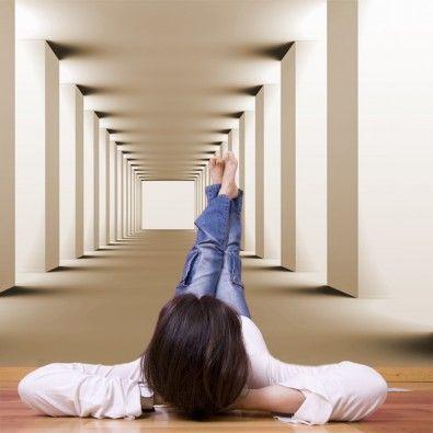 Fototapeta powiększająca wnętrze w - tunel w sepii