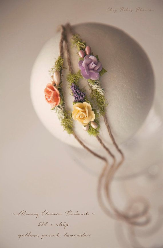Mossy Flower Tieback, Newborn Photo Prop, Newborn Flower Tieback, Spring Flower Headband, Many Colors