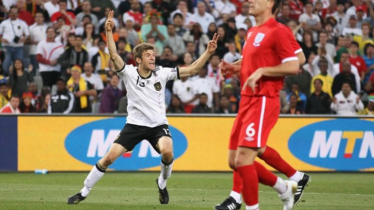 BLOEMFONTEIN, SOUTH AFRICA - JUNE 27: Thomas Mueller of Germany celebrates scoring his teams third goal during the 2010 FIFA World Cup South Africa Round of Sixteen match between Germany and England at Free State Stadium on June 27, 2010 in Bloemfontein, South Africa. (Photo by Joern Pollex/Getty Images)