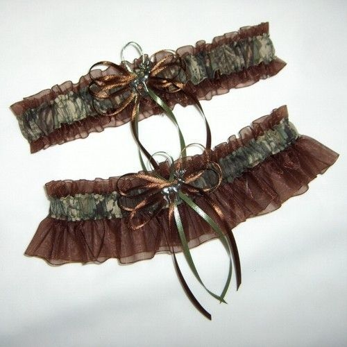Deer Hunting Camouflage Wedding Garter Set on Brown ( Camo garter ) deer, duck, fish