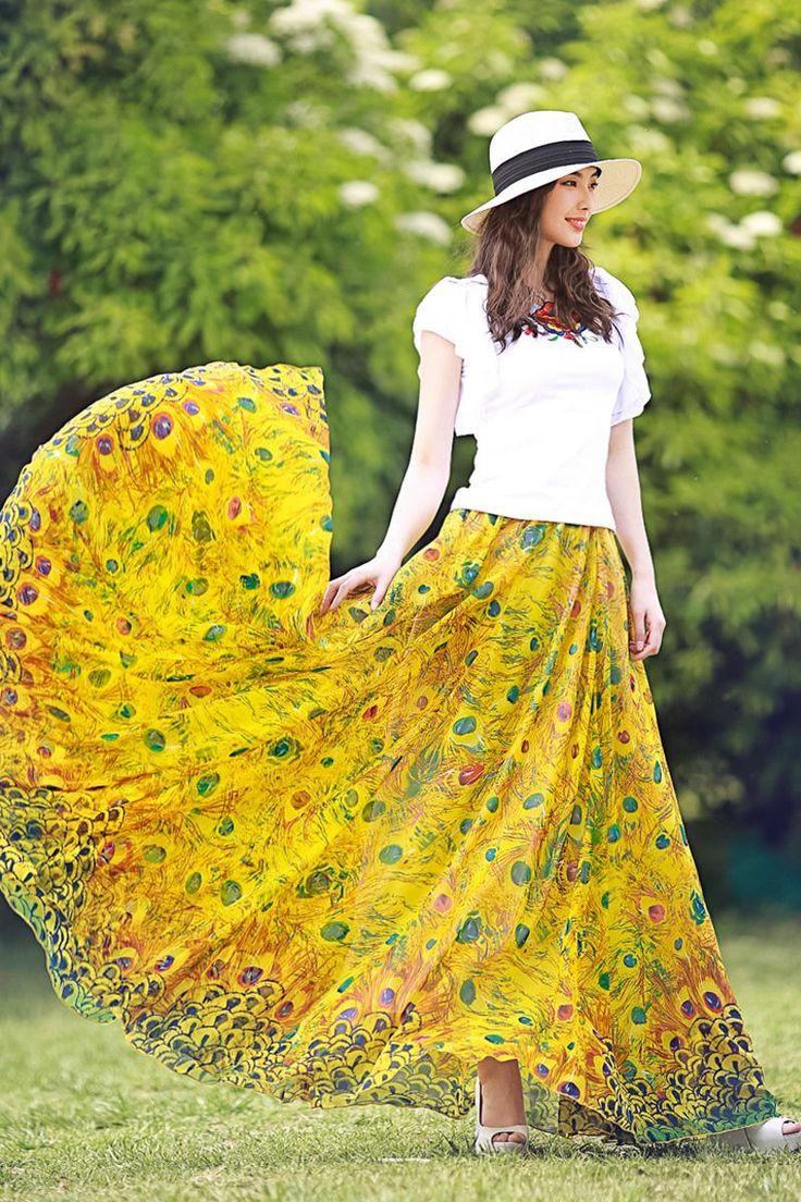 Summer Long Skirt Women Yellow | Dresscab