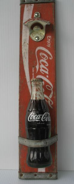 Coca cola sign vintage primitive Rustic bottle opener Coke wall Hanging Recycled wood word art furniture