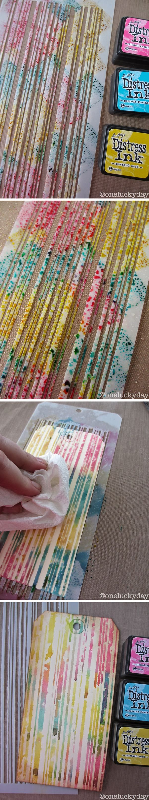 Technique: how to make an easy monoprint using a stencil & Distress Inks - tutorial at One Lucky Day