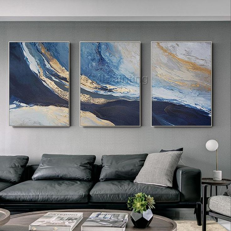 Framed wall art 3 pieces Wall Art Gold painting ocean navy blue art Abstract acrylic paintings on canvas set of 3 wall art sea painting 3 Piece Canvas Art, 3 Piece Wall Art, Canvas Wall Art, Diy Canvas, 3 Piece Painting, Big Wall Art, Blue Canvas, 3 Canvas Paintings, Acrylic Painting Canvas