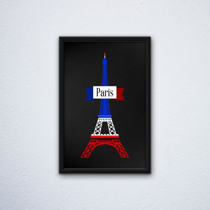 "Paris Eiffel Tower Poster in the France / French Flag colors (12"" x 18"") by WEPdesign on Etsy"