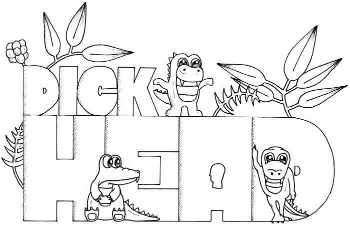 Dickhead - 14 FREE Printable Swear Word Coloring Pages at Swearstressaway.com - This swear word coloring page comes from the book Screw you As*hole available on Amazon. Swear Stress Away has many coloring books for grown-ups and adults that contain plenty of colorful language. Also You can get free printable swear word coloring pages when you sign up at swearstressaway.com #art