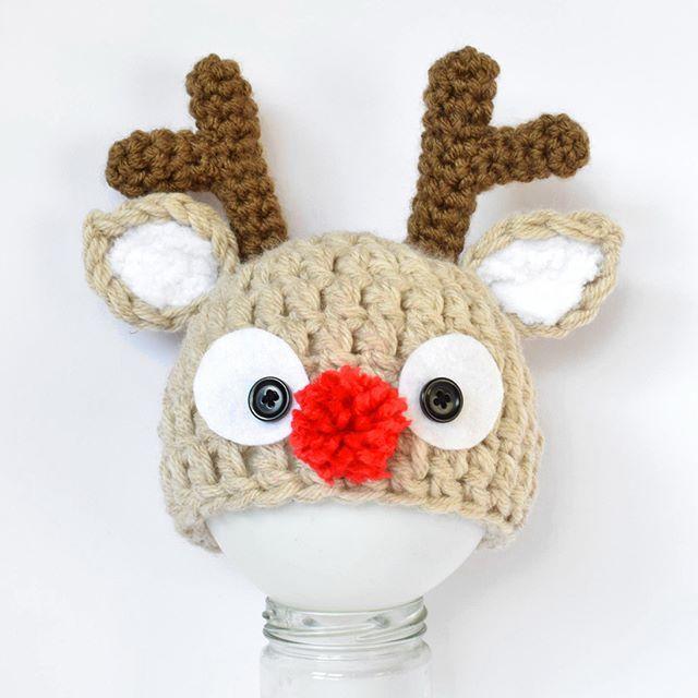 Crochet Rudolph beanie  www.kbeanies.com