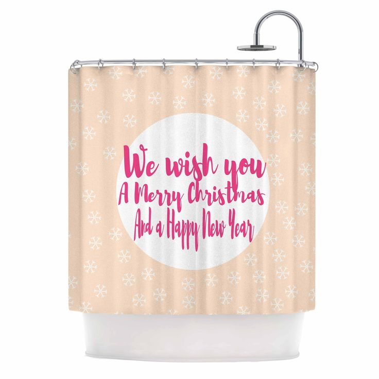 """Suzanne Carter """"Merry Chistmas & Happy New Year"""" Peach Pink Shower Curtain"""